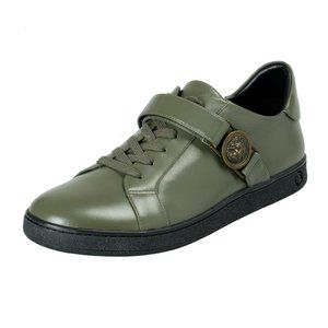 Versace Versus Olive Green Leather Sneakers Shoes